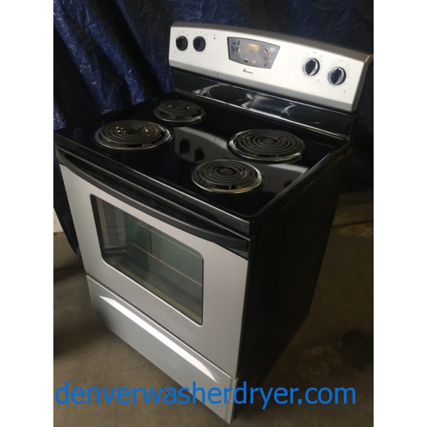 "Black Coil-Top Amana (Maytag) 30"" Freestanding Electric"