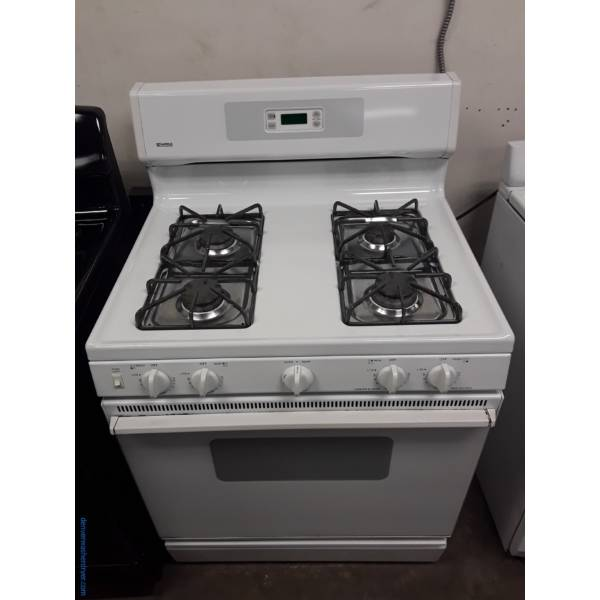 Kenmore White GAS Range, 4 Burners, Storage Drawer, 30″ Wide, Quality Refurbished, 1-Year Warranty!