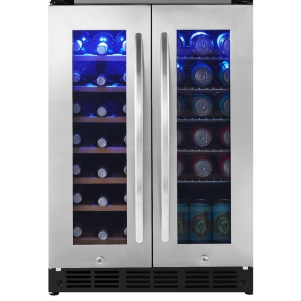 New Stainless Insignia 42 Bottle or 114 Can Built-in Dual Zone Wine & Beverage Cooler, 1-Year Warranty