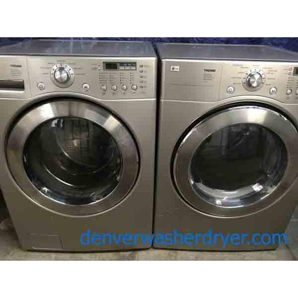silver lg tromm front load washer dryer set