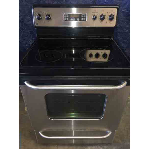 Black, Stainless Glass Top Range, 5 Burner, GE