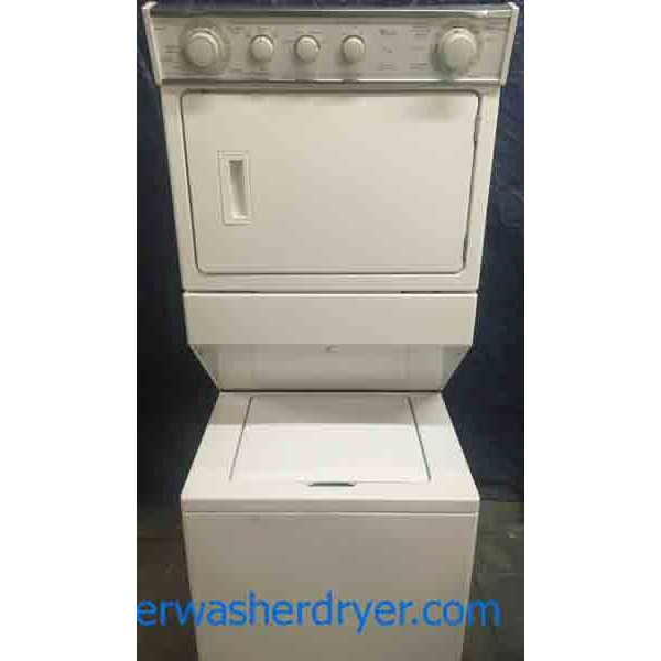 Terrific 27″ Whirlpool Thin-Twin Stacked Direct-Drive Washer Dryer Combo!