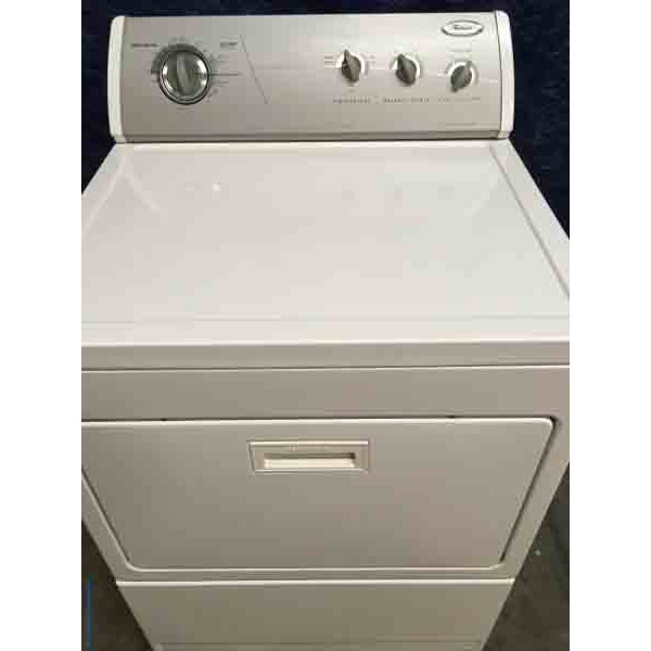 Silver and White Whirlpool Electric Dryer