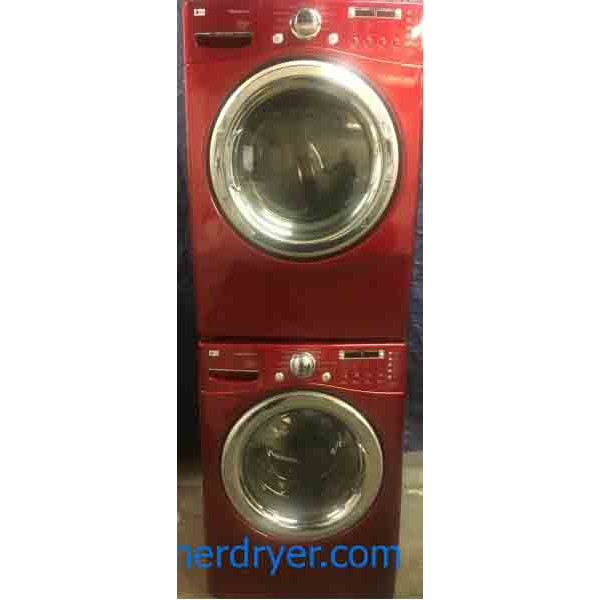Beautiful Red LG Tromm Front-load Washer with Steam Dryer Set