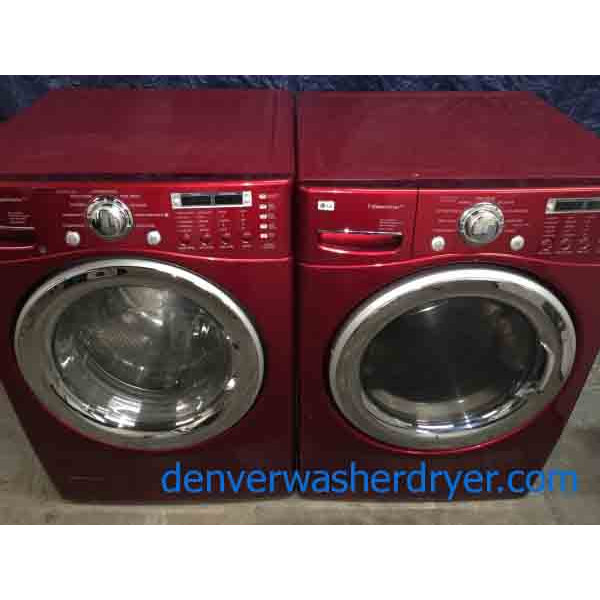 Lg Stackable Washer And Dryer red lg front load stackable washer and dryer set, 220v, steam