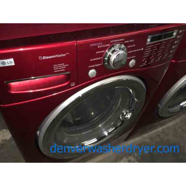 Red Lg Front Load Stackable Washer And Dryer Set 220v