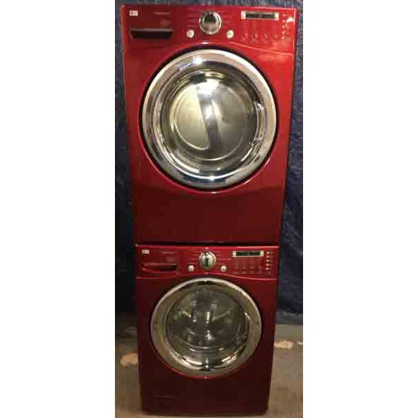 red lg front load stackable washer and dryer set 220v steam