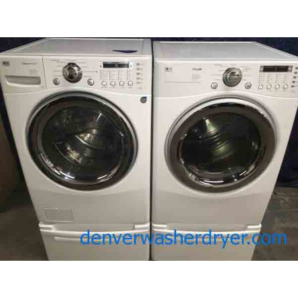 Lovely White LG Front-Load Laundry Set on Pedestals!