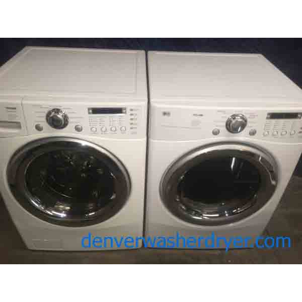 White Lg Stackable Front Load Washer And Dryer 2920
