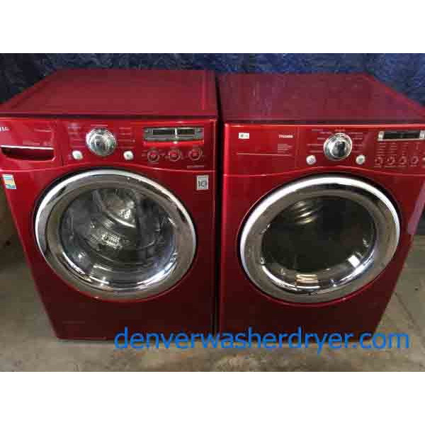 Red Lg Front Load Laundry Set Steam 220v Stackable