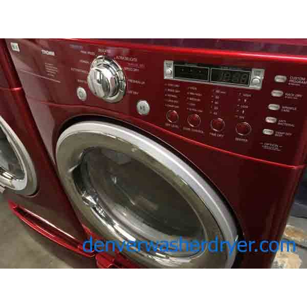Beautiful Red Lg Front Load High Efficiency Washer And
