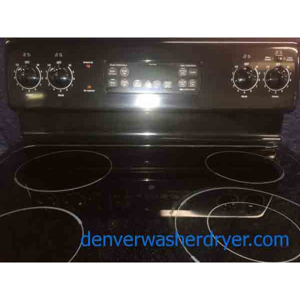 Black Ge Electric Stove Oven 4 Burner Glass Top 3066