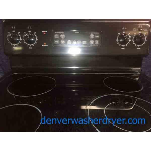 Black Ge Electric Stove Oven 4 Burner Glass Top 3066
