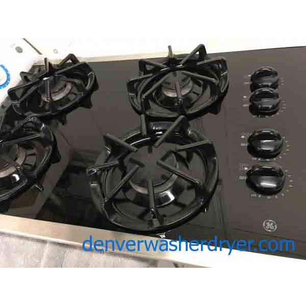 Black Gas Cooktop, GE, Built-In, 1-Year Warranty