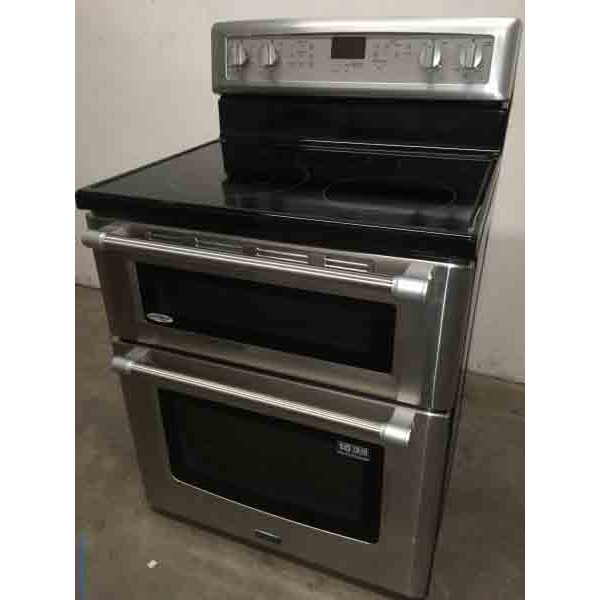 New Maytag Smooth-Top Double-Oven Range, Freestanding, Electric, 1-Year Warranty