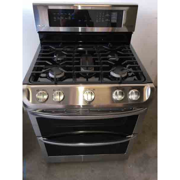 Barely Used Stainless Gas 30″ Range, LG Double Oven, 5-Burner, 1-Year Warranty