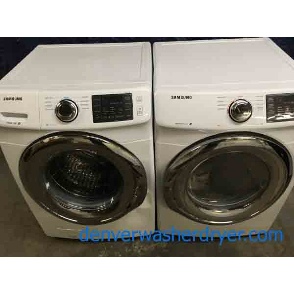 new samsung frontload washer and dryer set electric stackable scratch