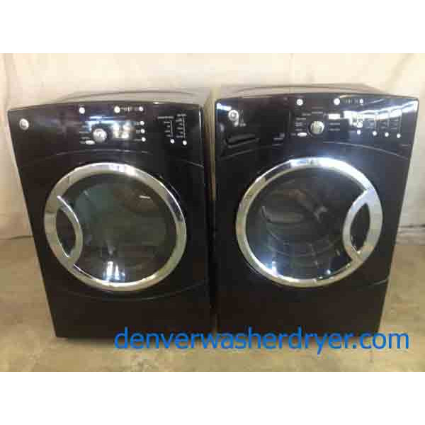 Stunning Black Ge Front Loading Washer With Matching Dryer