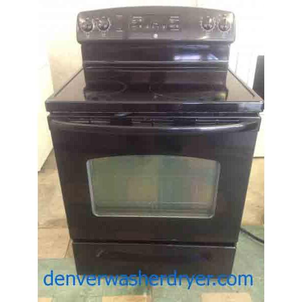 Black 4 Burner Ge Glass Top Stove 2371 Denver Washer