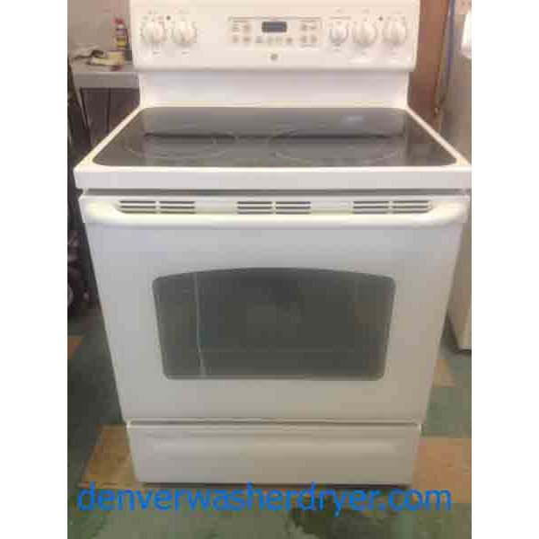 White 5 Burner Ge Glass Top Stove 2372 Denver Washer