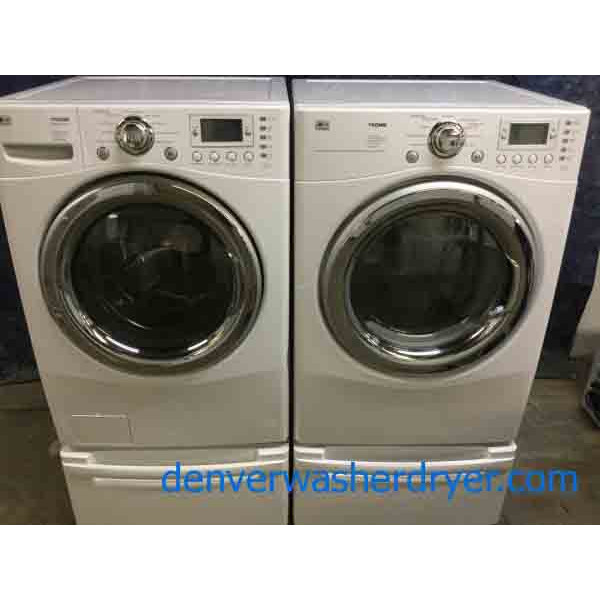 Newer Model Front-Load Laundry Set on Pedestals, Steam, Sanitary, 220v