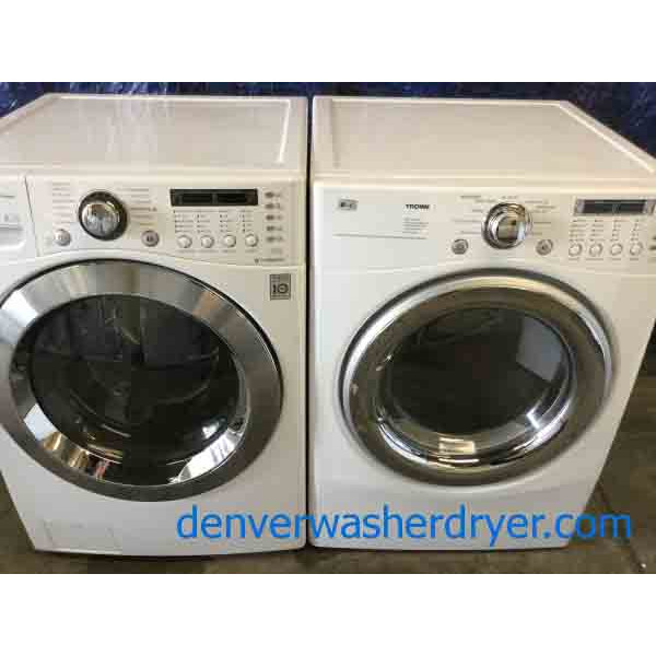 lg frontload washer dryer set stackable 220v steam u0026 sanitary cycles