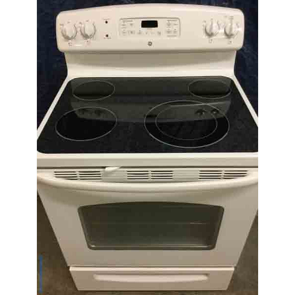 White Glass-Top Stove, GE, 30″ Freestanding Range, Clean!!