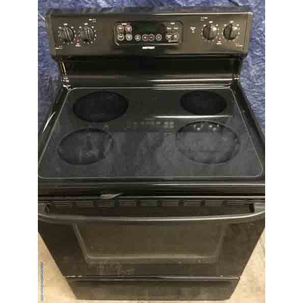 Stove, Fantastic Black Glass-Top Stove, Electric, Self-Cleaning, by GE, 30″ Freestanding