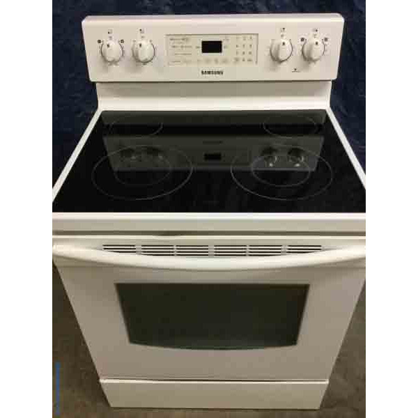 30″ Freestanding White Glass-Top Samsung Stove/Oven, Electric, Clean!