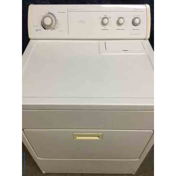 Wonderful Whirlpool Dryer, Quality Refurbished, Electric, Super Capacity, 29″ Wide in White