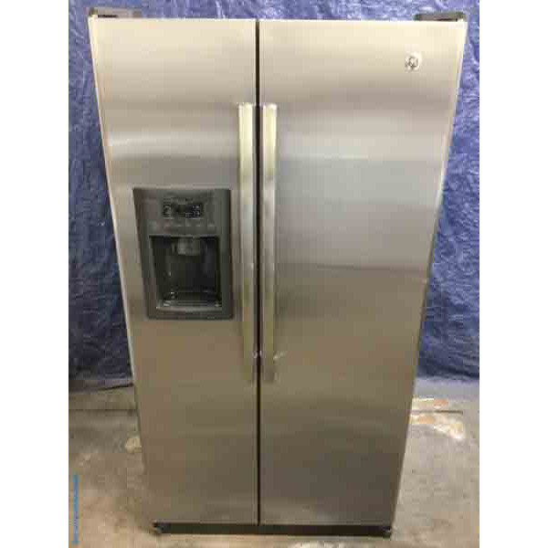 Used Stainless Side-by-Side GE Refrigerator, 25 Cu. Ft., 1-Year Warranty!