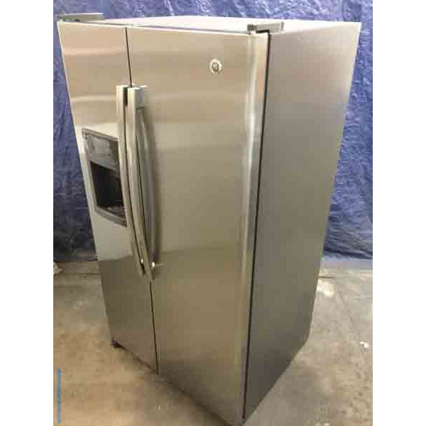 Ge Appliance Warranty >> Used Stainless Side By Side Ge Refrigerator 25 Cu Ft 5