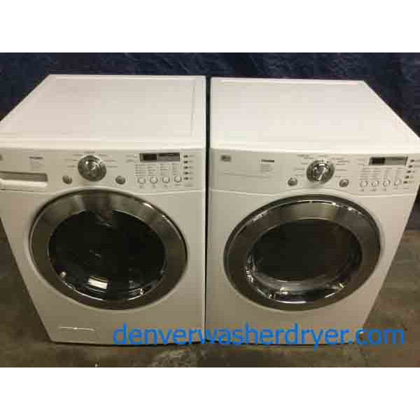 frontload stackable lg washerdryer set sanitary cycle 1year