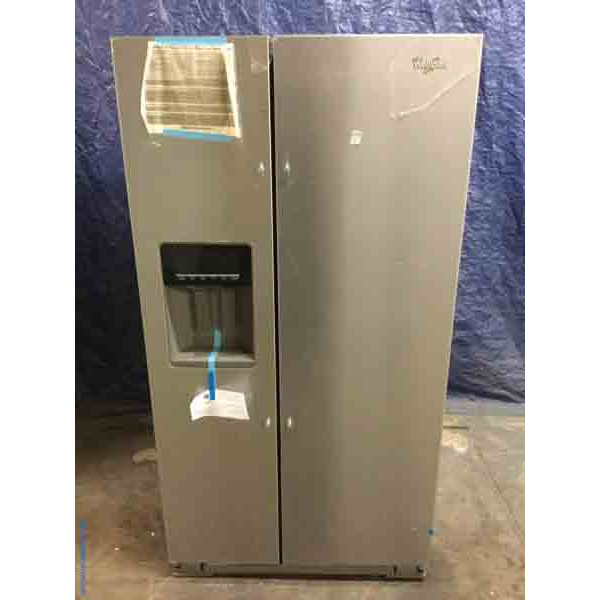 Brand-New 26 Cu. Ft. Stainless Side-by-Side Refrigerator, Water Dispenser, LED Lighting, Glass Shelves, 36″ Wide