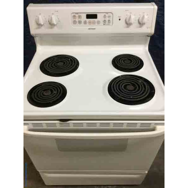 White Coil-Top Stove, Electric, 30″ Wide, Hotpoint(GE), 1-Year Warranty!