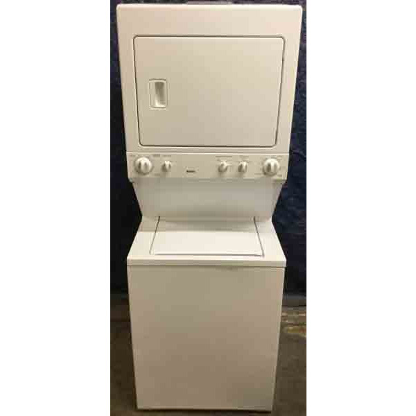 Sturdy 27″ Kenmore Stackable (Unitized) Washer Dryer Set, 220V, Full-Size