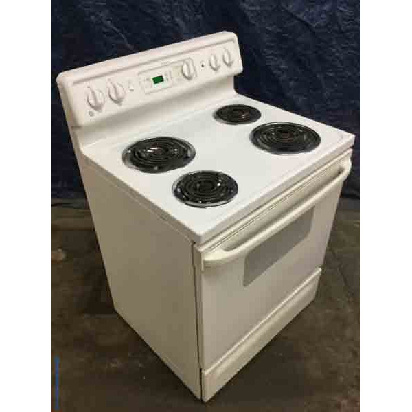 30″ Coil-Top Stove, White, GE, Electric, Self-Cleaning, 1-Year Warranty!