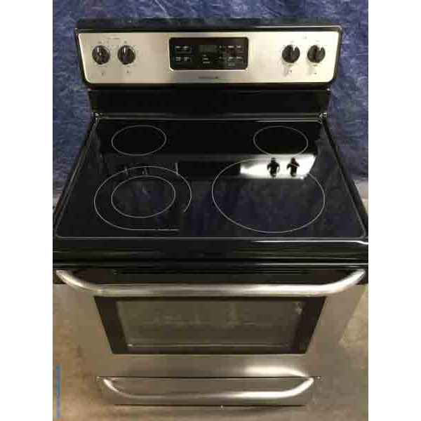 Stainless 30″ Stove by Frigidaire, Electric, Self-Cleaning, 1-Year Warranty, Clean and Good-To-Go!