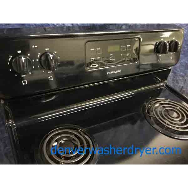 Black Coil-Top Frigidaire Range, Electric, Self-Cleaning, 1-Year Warranty!