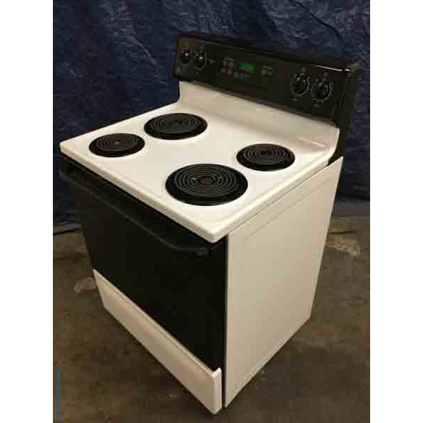 GE 30″ Freestanding Range, Electric Coil-Top, Black & White, Self-Cleaning, 1-Year Warranty!