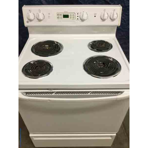 Discount Stove White Ge Coil Top Electric Self Cleaning