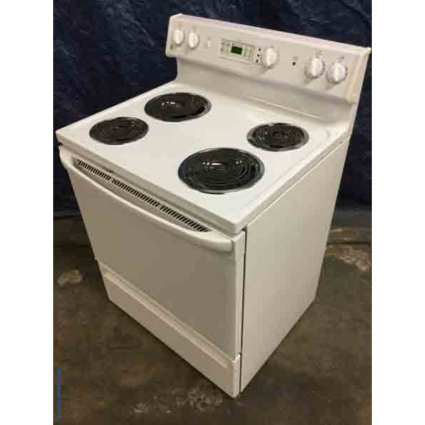 Discount Stove, White GE Coil-Top, Electric, Self-Cleaning, 1-Year Warranty!