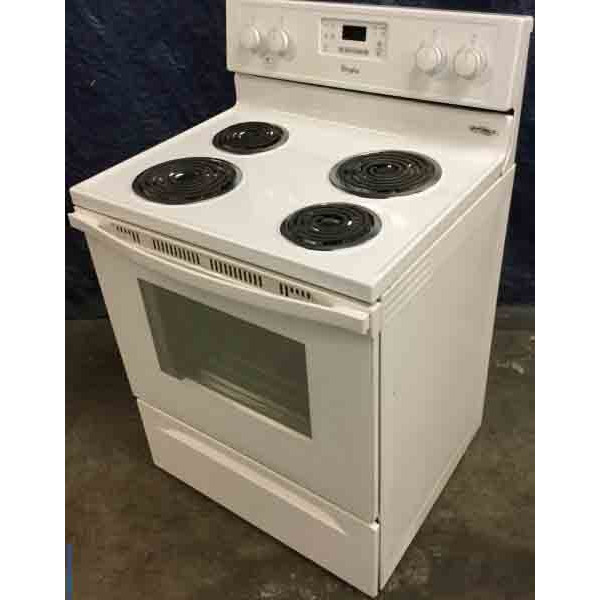 Newer Model Whirlpool Electric Range, 30″ Freestanding, White, Electric, Self Cleaning