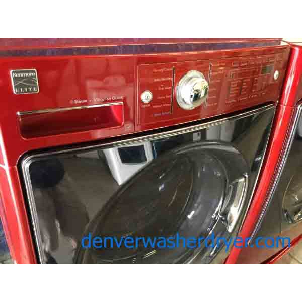 5 Year On All 3 Red Kenmore Elite Front Load Washer Dryer