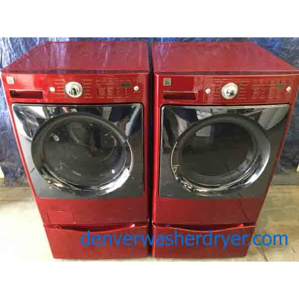 5 year on all 3u2013red kenmore elite frontload washer dryer set on