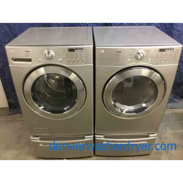 Spectacular Silver LG Front-Load Set on Pedestals, Direct-Drive, Sanitary Cycle