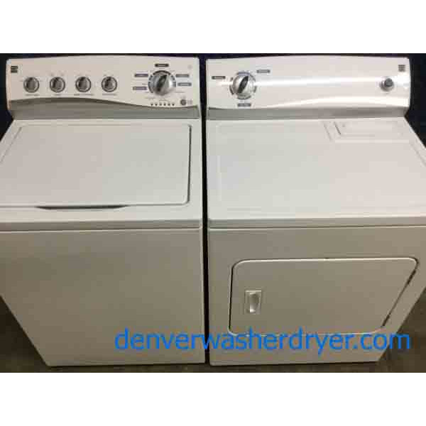 Spiffy Kenmore Washer Dryer Set, HE, Super Capacity, 1-Year Warranty