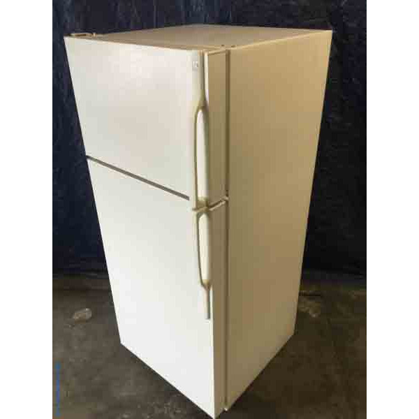 Used GE Refrigerator, Almond Color, 18 Cu. Ft., Clean and Cold, 1-Year Warranty!