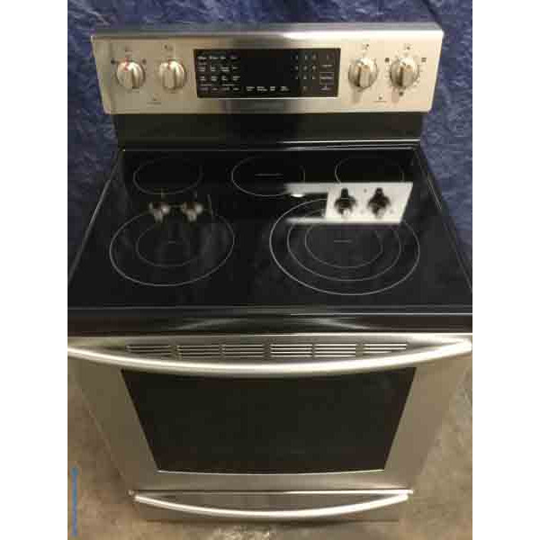 Used Stainless Glass-Top Electric Range, Samsung, Convection Oven, 1-Year Warranty!
