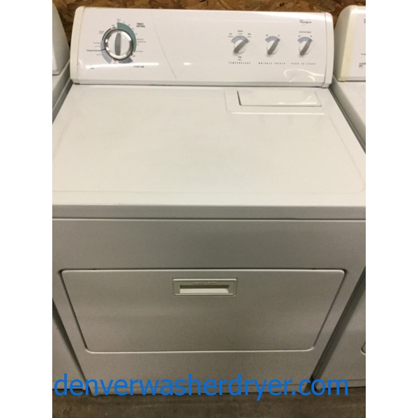 Commercial Quality Whirlpool Dryer, Electric, 29″ Wide, Super Plus Capacity, 1-Year Warranty